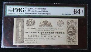 1839 6 1/4 CENTS VIRGINIA WINCHESTER FRAMES BANK OF VIRGINIA EPQ 64 PMG