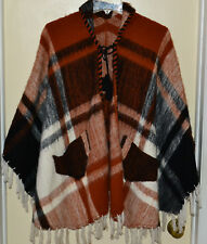 Vintage Hand-Made Cape with Pockets Feels Like Wool Brown Back White Frills