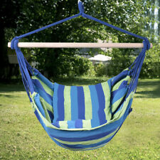 Deluxe Hammock Rope Chair Patio Tree Hanging Air Swing for Relaxing Blue & Green