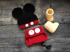 Newborn Baby Boy Mickey Mouse Hat Diaper Cover Booties Crochet Photo Prop Outfit