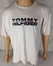 Vtg Tommy Hilfiger Spell Out T-Shirt XL White Flag Established 1985 Stained