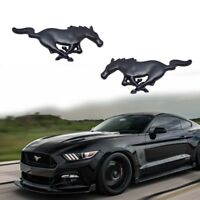 FORD MUSTANG PONY RUNNING HORSE METAL TRI BAR EMBLEMS FENDER TRUNK STICK ON PAIR