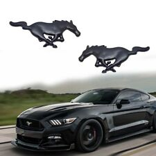 2PCS Metal Black Running Horse Emblem Side Fender Badge Sticker For Ford Mustang