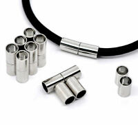 Silver Tone Magnetic Bracelet Clasps - Cylindrical Style - Multiple Sizes - Cord
