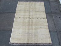 Old Traditional Hand Made Persian Oriental  Wool Cream Gabbeh Rug 140x100cm