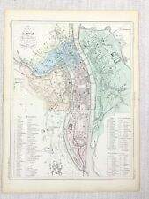 1881 Antique French Map Lyon Street City Plan France Hand Coloured Engraving