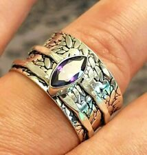 Gifts for Her-size W-Marquise cut AMETHYST Gemstone Spinner Ring Sterling SILVER