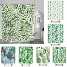 Bathroom Fabric Shower Curtain 12 Hook Set Water Resistant Tropical Plants Panel