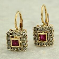 14 ct k kt Yellow GOLD Red RUBY and DIAMOND Drop Cluster Antique style Earrings