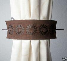 2 Stück Raffhalter Schalhalter mit Speer in Wildlederoptik Braun 9 x 30 cm