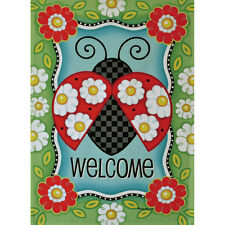 "LADYBUG WELCOME 28"" X 40"" PORCH FLAG 10-2770-197 RAIN OR SHINE SUMMER SEASONAL"