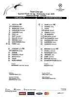 Teamsheet - Chelsea v Bayern Munich 2004/5 UEFA Champions League
