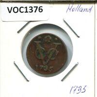 1735 HOLLAND VOC DUIT NETHERLANDS INDIES NYC COLONIAL PENNY #VOC1376.11UW