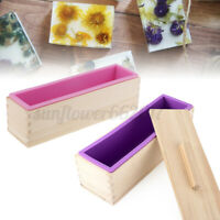 Soap Loaf Toast Wooden Box Silicone Soap Mold DIY Making Tool Rectangle with Lid
