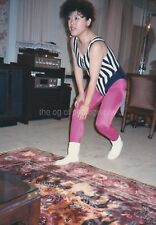 WORKING IT Korean Woman In Tights FOUND PHOTO Color Snapshot VINTAGE Girl 811 35