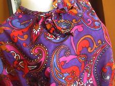 Medium sz 10 True Vtg 60s Mode O Day Rare Print Purple Sheer Sleeve Mod Top
