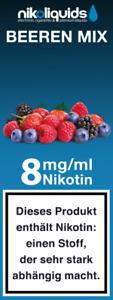 Nikoliquids 10  x 10 ml mit 8 mg Nikotin in versch. Geschmacksrichtungen