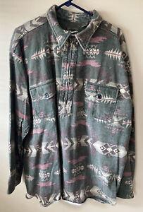 Men's Roper Western Shirt 2XL Long Sleeve 1/2 Zip 100% Cotton  Cowboy W/pockets