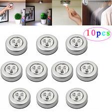 10 Pcs LED Wardrobe Touch Light Push Tap Stick On Lamp Battery Powered White NEW