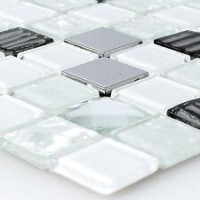 Selbstklebendes Glas Edelstahl Mosaik Fliesen Weiss Silber