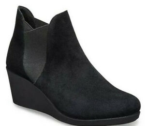 New Crocs Women's Leigh Wedge Chelsea Boot, Black, Size 6.5 NWT!