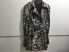 Bebe ladies large animal printed double breasted belted rain and shine coat