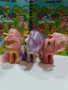 Vintage G1 1982 3 ponies My Little Pony Cotton Candy, Blossom and Peachy