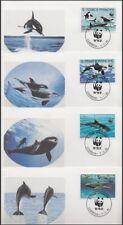 ST. THOMAS & PRINCE IS. 1992 WWF MARINE MAMMALS SET (4) FDC's (ID:563/D46493)