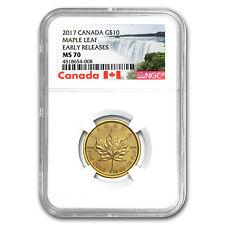 2017 Canada 1/4 oz Gold Maple Leaf MS-70 NGC (ER) - SKU #151467