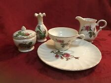 Moss Rose China Lot Snack Plate Teacup Vase Trinket Box Pitcher