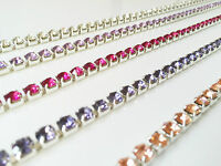 1Metre Large Diamante/Crystal Close Link Chain Silver A Quality Wedding Sewing