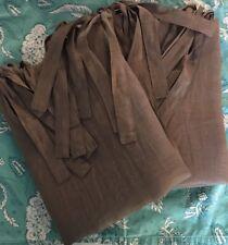 Pottery Barn Set 2 Belgian Flax Linen Sheer Drape Flax Pair Dark Gray Taupe Ties
