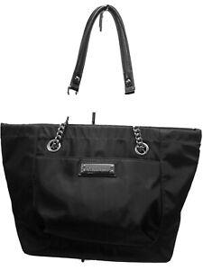 Calvin Klein Black Nylon Large Tote Handbag,zippered w/ chain & leather handles