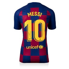 Значки Лионель Месси с автографом 2019-20 ФК Барселона подпись Джерси включает в себя сертификат подлинности