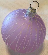 Gorgeous WEST GERMAN Pale Violet Hand Blown Christmas Ornament w/White Glitter