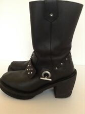 Harley Davidson Woman's Black Leather Motorcycle Boots Sz 5 1/2 Or 35 Euro