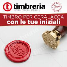 Timbro Sigillo ceralacca in ottone personalizzato doppia iniziale sposi 25 mm
