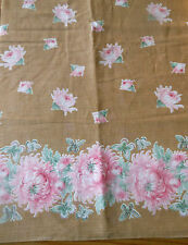 Antique Chinoiserie Mum Butterfly Floral Border Cotton Fabric ~ Pink Tan
