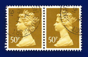 1977 SG X921 Ochre-Brown 2 Bands Fine Used Pair Stockport CDS 26 FE 91 dgdb