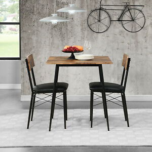 3-piece Dining Table and Chairs Set Wooden Dining Chairs & Dining Table 2-Seater