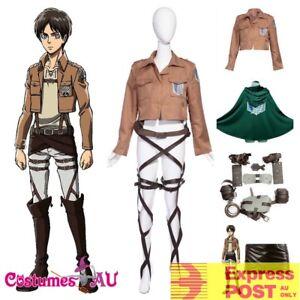 Deluxe Attack on Titan Costume Set Jacket Cape Belt Shingeki No Kyojin Cosplay