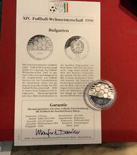 Bulgarien 25 Leva 1990 Silber PP - Fußball WM 1990 - Ball