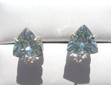 Blau Topas facett. Ohrstecker 10x10 mm 925 Silber E7061 Blue Topas