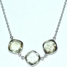 Verde AMATISTA Collar de Plata Ley 3 Piedra preciosa set Colgante 925 Cadena