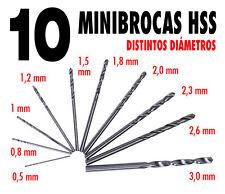 10 Brocas HSS de 0,5 a 3 mm para metal, plástico, madera, resina .... Modelismo.