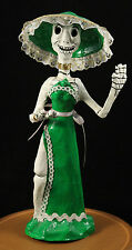 "Mexican ""Day of The Dead"" Catrina Doll Paper Mache Hand Made/Painted Green Tall"