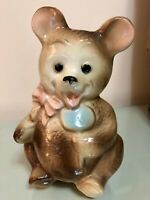 "Vintage Royal Copley bear planter pink bow blue sucker 8 1/4 "" Mint Condition"
