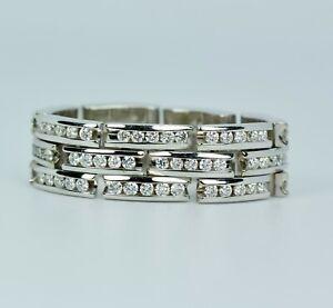 KWIAT 18k White Gold Round White Diamond 3 Row Flexible Link Ring Size 7