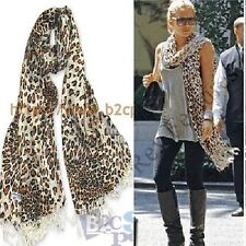 Classic Brown Pashmina Leopard Prints Style Scarf Wrap Shawl Fringe Thick 175cm