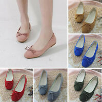 New Bowknot Suede Square Toe Ballet Flats Plus Size Casual Shoe For Women's Lady